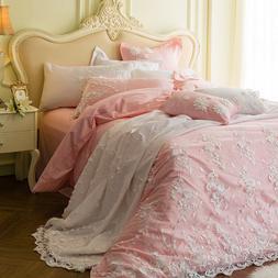 Bedding set 6 pieces Pure cotton romantic lace quilt cover b