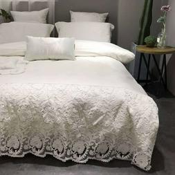 Bedding set 7 pieces Pure cotton romantic lace quilt cover b