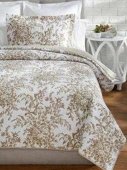 Laura Ashley BEDFORD 100% Cotton Reversible 2 Pc TWIN Quilt