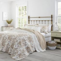 Bedford 2-Piece Mocha Floral Cotton Twin Quilt Set