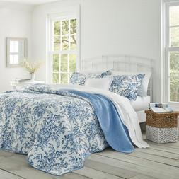 Bedford 3-Piece Delft Floral Cotton King Quilt Set