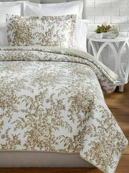 Laura Ashley Bedford Cotton Reversible Quilt, King, Mocha
