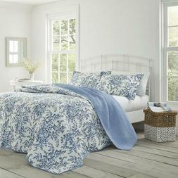 Laura Ashley Bedford Cotton Reversible Quilt Set, King