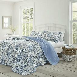 Laura Ashley Bedford Cotton Reversible Quilt Set, Full/Queen