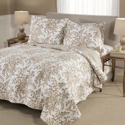 Laura Ashley Bedford Mocha Cotton 3-piece Quilt Set  King -