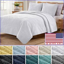 VEEYOO Bedspread Coverlet Quilt 3-Piece Set Luxury Bedding C