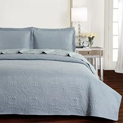 Mellanni Bedspread Coverlet Set Light-Gray Comforter Oversiz