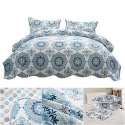 Bedspread Coverlet Set Microfiber Printed Floral Quilt Zippe