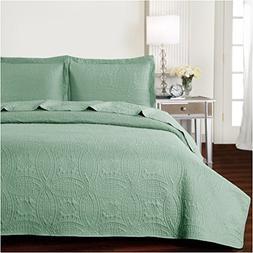 Mellanni Bedspread Coverlet Set Olive-Green - BEST QUALITY C