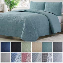 3 Piece Brie Teal//Gray Quilt Set