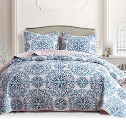 3 Piece Bedspread Quilt Set with Shams, Reversible Coverlet