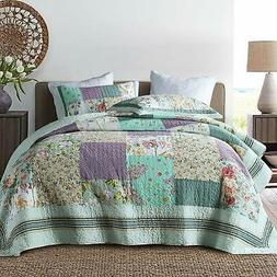 NEWLAKE Bedspread Quilt Set with Real Stitched Embroidery Bo