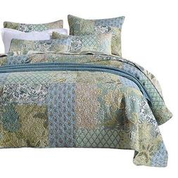 NEWLAKE Bedspread Quilt Set with Real Stitched Embroidery, B