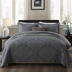 NEWLAKE Bedspread Quilt Set with Real Stitched Embroidery,Ja