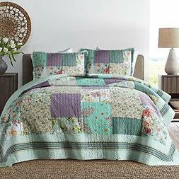 NEWLAKE Bedspread Quilt Set with Real Stitched Queen Classic