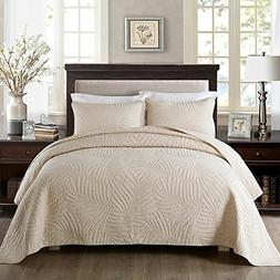 NEWLAKE Bedspread Quilt Sets-Cotton Patchwork Coverlet Set,B
