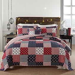 HALZANDER Bedspread Quilt Sets, 3-Piece Coverlet Set 100% Co