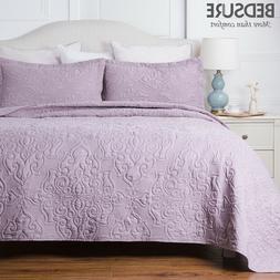 Bedsure Bedding Quilt set Soft Bedspread Pillow Sham Set Mic