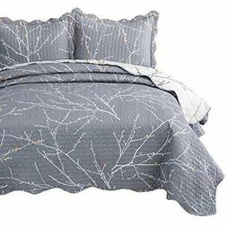 Bedsure Quilt Set Full/Queen Size Grey Tree Branch