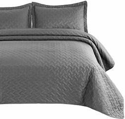 Bedsure Quilt Set Grey Twin Size  - Basket Weave Pattern Bed
