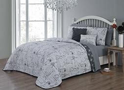 Avondale Manor Belle 9-Piece Quilt Set, Queen, Grey