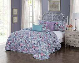 Avondale Manor Bianca 5-Piece Quilt Set, Orchid, Queen