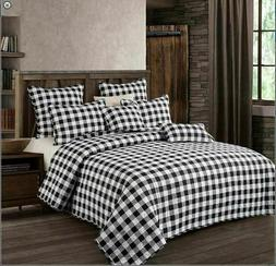 "Virah Bella®  BLACK AND WHITE PLAID""  KING or QUEEN QUILT S"