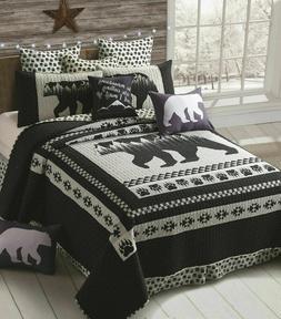 Virah Bella Black Bear 3pc KING Quilt Set Black & White Rust