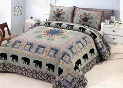 Black Bear Forest - 3 Piece Queen Quilt Bedding Set