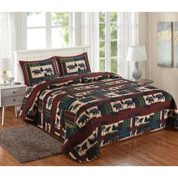 black bear lodge quilt set queen or