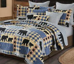 BLACK BEAR BLUE BUFFALO CHECK Full / Queen QUILT SET : LODGE