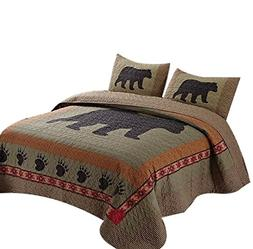 BLACK BEAR PAW Cal King QUILT SET : LODGE CABIN COUNTRY MOUN