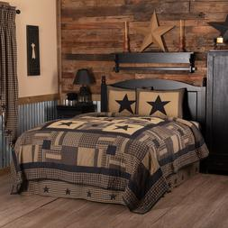 BLACK CHECK STAR QUILT SET & ACCESSORIES. CHOOSE SIZE & ACCE