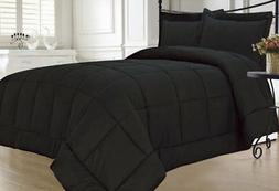 KingLinen Black Down Alternative Comforter Set Extra Long Tw