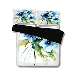 Black Duvet Cover Set Full Size,Watercolor Flower,Pale Color