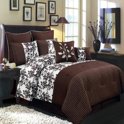 Bliss Chocolate and White Queen size Luxury 8 piece comforte