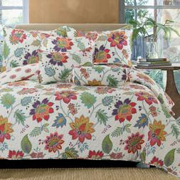 Blooming Floral  3-Piece Reversible Bedding Quilt Set, Bedsp