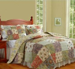 Greenland Home Fashions Blooming Prairie Quilt 3pc Reversibl