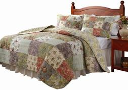 NEW Quilt Set Greenland Home Fashions FULL QUEEN Blooming Pr