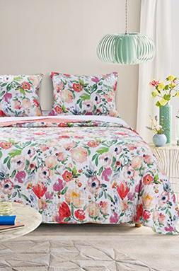 Barefoot Bungalow GL-1711BMSQ Blossom Quilt Set, Full/Queen,