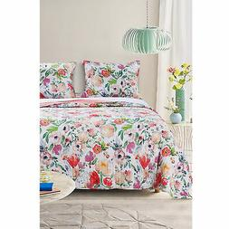 Barefoot Bungalow Blossom Reversible Quilt Set With Shams -