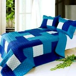 Blue 3 Piece Quilt Set Vermicelli-Quilted  Full/Queen  Blanc