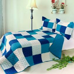blue crystal 3pc vermicelli quilted patchwork quilt