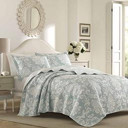 UKN 3 Piece Blue Damask Full Queen Size Quilt, Beautiful Flo