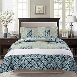 Tache Blue Damask Quilt Bedspread - Ivy - 3 Pieces Floral Pa