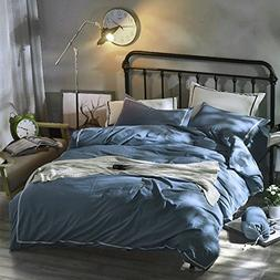 OREISE Blue Duvet Cover Set Full/Queen Size Washed Cotton 3P