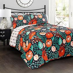 Ln 3 Piece Blue Green Orange Floral King Quilt Set, White Te