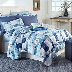 AD 3 Piece Blue Kids Twin/Full Boats Quilt Set, White Nautic