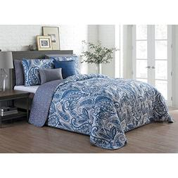 UKN 7 Piece Blue King Size Damask Quilt Set, Beautiful Grey