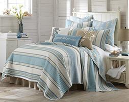 Levtex Blue Maui King Cotton Quilt Set Blue Stripe